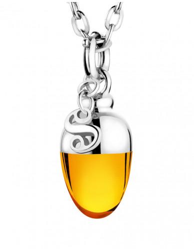 Suay I Schmuckanhänger I Amber orange I Silber rhodiniert